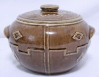 "Vintage Brown Glazed Clay Bean Pot/Cookie Jar 7"" (tall) 8"" (Diameter) USA"