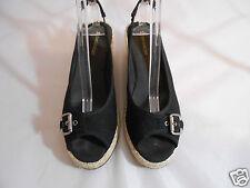 Naturalizer SHERENE Black Fabric Wedge Slip On Open Toe Sandals Womens 9.5 M