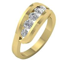 5 Stone Ring Engagement Band I1 G Round Cut 1.25 Ct Diamond Channel Set 14K Gold