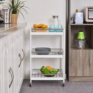 3-Tier Home Trolley Kitchen Storage Cart Steel Bars 4 Wheels Rolling Unit White