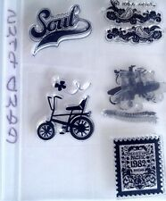 Stampin Up SURF DUDE  Silhouette Surfboard Bicycle Bike Waves Summer Soul X RARE