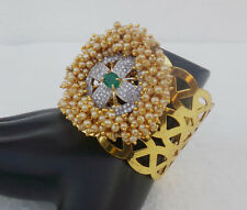 Simulated Cubic Diamond Bangle Indian Bridal Pearl Cuff Bracelet Fashion Jewelry