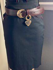 VTG 80 YVES SAINT LAURENT GOLD Heart Charm WOMENS Leather Brown Belt Italy