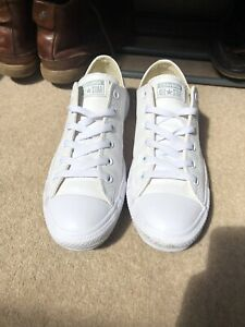 Converse White All Star Leather Mono Ox Trainers - Size 8