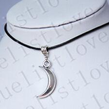 Collier Crescent lune pendentif Collier Tour de cou avec cordon en cuir noir