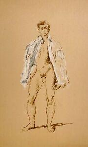 WALTER STUEMPFIG 20th c. American Philadelphia Artist DRAWING Male Nude