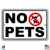"Warning No Pets Aluminum Metal 8"" x 12"" Sign Animals Dogs Premises Cats Park"