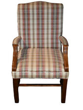 Plaid Chippendale Style Accent Chair w/Stretcher Base