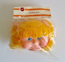 Vintage Zim's Plastic Girl Toy Doll Head Blond Yellow Hair Freckles Cheeks Parts