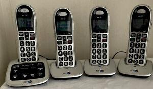 BT 4500 Digital Cordless Phones With Answering Machine Quad (4) Set Big Button