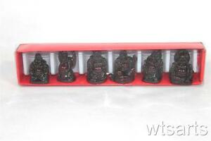 Mini Set of 6 Resin Buddhas. Lucky + Laughing Buddha (many colours). Luck Charm