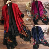 Womens Vintage Floral Loose Long Sleeve Coats Shawl Kimono Boho Jacket Cardigans