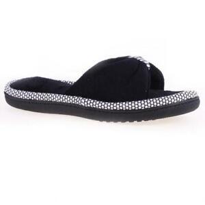ISOTONER Women's Cabanas Neena Dot Microterry XSlide Slippers Cushion Foam BLACK