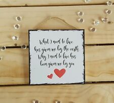 Handmade valentines gifts present plaque sign girlfriend boyfriend husband wife