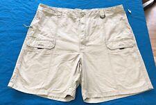 Mens Size 48 Shorts Flat Front Pockets Bottle Opener Fishing Utility Khaki New