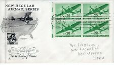 1941 AIR MAIL 20 CENT PLANE BLOCK OF 4 ART CRAFT CACHET HAND ADDRESSED FDC