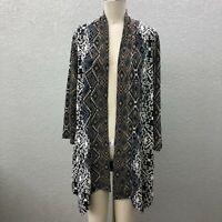 CB Established 1962 Knit Stretch Cardigan Sweater Black 1X Open Front Long Slv