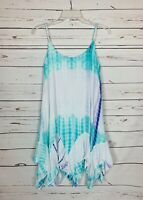 Entro Boutique Women's L Large White Aqua Tie Dye Boho Sleeveless Cute Dress