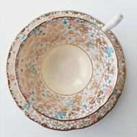 Vintage Tea Cup & Saucer Royal Stafford Gold Leafs Pink & Blue Flowers