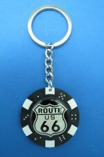 ROUTE 66 POKER CHIP DICE KEYRING KEY RING CHAIN WHITE SHIELD #111