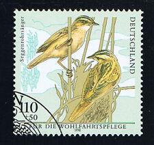GERMANIA 1 FRANCOBOLLO BENEFICENZA UCCELLI SEGGENROHRSÄNGER 1998 timbrato(BD5428