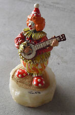 "RARE Ron Lee Signed LE Clown with Banjo on Onyx Base Figurine 6 1/4"" T /750"