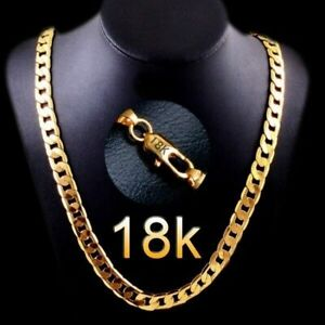 Luxury  18K Gold Plated 6mm Men's Chain Necklace...
