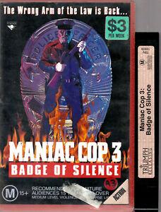 RARE VHS  MANIAC COP 3 BADGE OF SILENCE Big Box Ex-Rental Video Tape HORROR