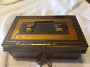 ANTIQUE, CASH BOX WITH KEYS, REMOVEABLE INSIDE HOLDER, SEE ALL PIC'S