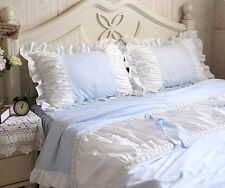 Pair of Embroidred Ruffle Pleated Light Blue & White Cotton Standard Pillow Sham