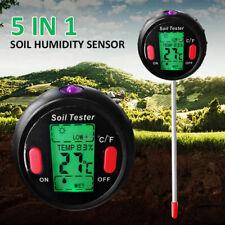 5 in 1 PH Soil Tester Digital Temperature Meter Garden Greenhouse Professional
