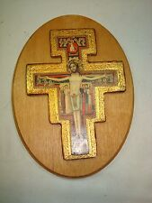 Older Italian Gilded Wood Cross with Jesus and Apostles