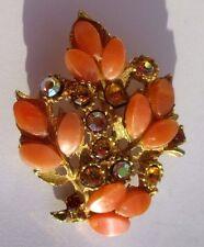 Belle broche bijou vintage couleur or cristaux diamant hessonite 3220