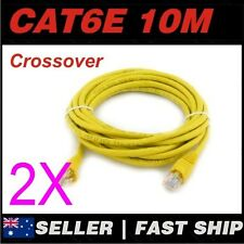 2x 10m Cat 6 Cat6 Crossover Yellow Premium Ethernet Network LAN Patch Cable Lead