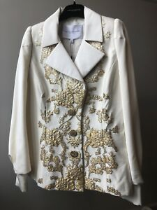 NWT! CAROLINA HERRRA New York Ivory Silk Tuxedo Jacket Blazer Gold Embroidery
