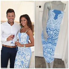 light blue and white embossed strap 50s inspired boutique pencil dress