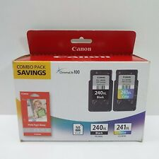 GENUINE CANON PG-240XL BLACK & CLI-241XL COLOR INK + PHOTO PAPER COMBO PACK (E28