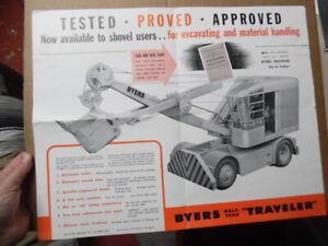 1940 Byers Machine Co Traveler Power Shovel Poster Brochure Ravenna Ohio Vintage