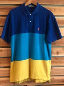 EUC Mens Striped Polo Ralph Lauren Pony Logo S/S Shirt Golf L