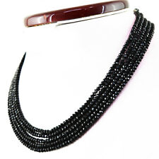 157.00 Cts Natural 5 Strand Black Spinel Round Shape Faceted Beads Necklace