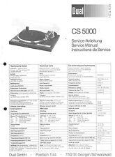 Dual Service Manual für CS 5000