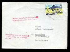 MALAWI WITHDRAWN FROM AIRMAIL + FORWARDED by SURFACE ROUTE to GERMANY 1969