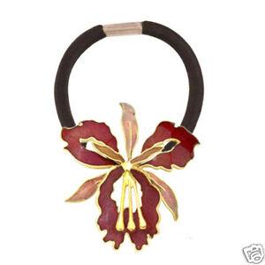 Orchid Enameled Ponytail Holder Hair Elastic Band