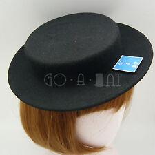 VINTAGE Wool Felt Mini Boater Top Hat Women Fascinator Panama | Black Grey Beige