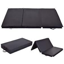 6' x 4' Tri-Fold Gymnastics Mat Thick Folding Panel Gym Fitness Exercise Black