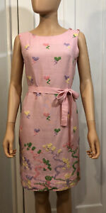 CUTE! !960's Pink Linen Embroidered Dress- Great Condition