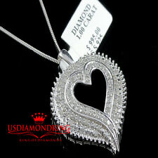 Women's Ladies Real Genuine Diamond 1CTW Heart Charm Pendant Chain Necklace Set