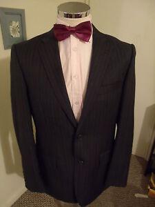 "NEW LIME Men's Charcoal Stripe Suit Jacket C42"" Long Poly/Viscose rrp £129 Blend"