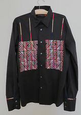 SAVE THE QUEEN Mens Long sleeve dress shirt XL black frayed applique Italy