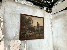 Antique Hunting Scene Print in Original Wooden Frame